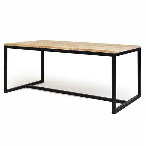 Tafel Ivo - staal tafel onderstel en steigerhout blad - ideaal voor ...