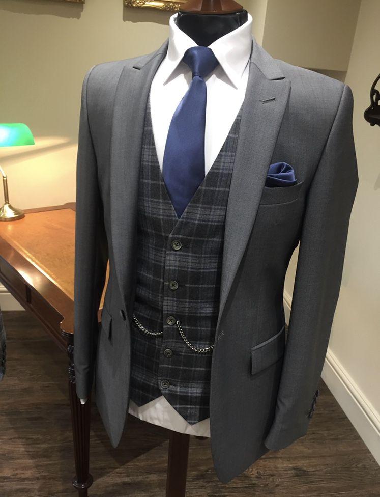 Slim fit grey lounge suit |check waistcoat | wedding suit