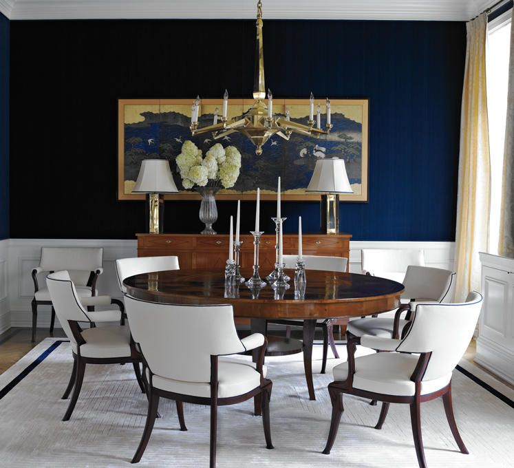 Dining room design photo by sherrill canet interiors album for Navy blue dining room ideas