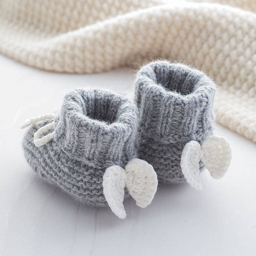 Knitting Patterns Cashmere Wool : Angel Wings Cashmere Booties Baby booties, Angel wings and Cashmere