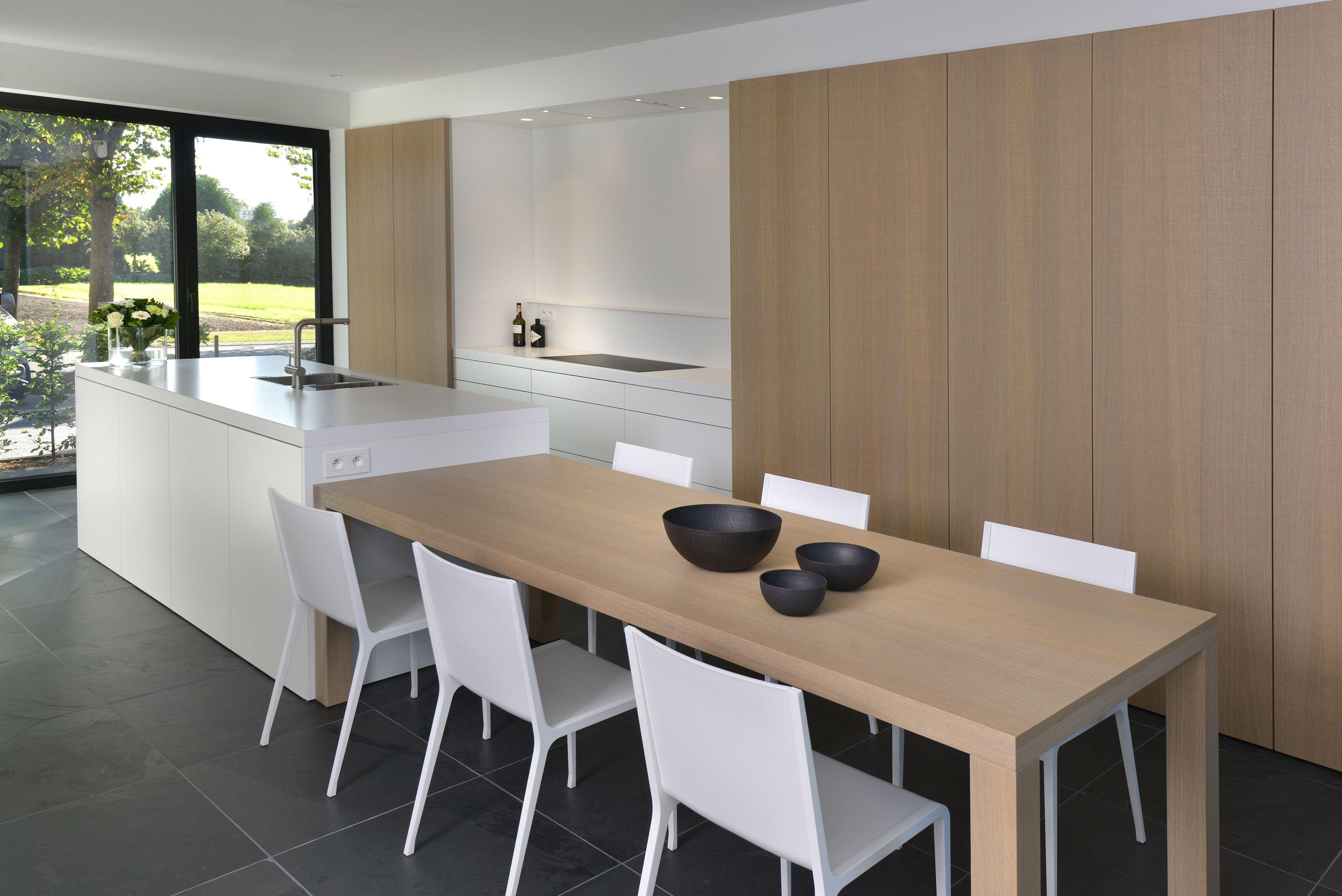 Moderne Witte Keukens : Moderne witte keuken gecombineerd met hout strakke keukens