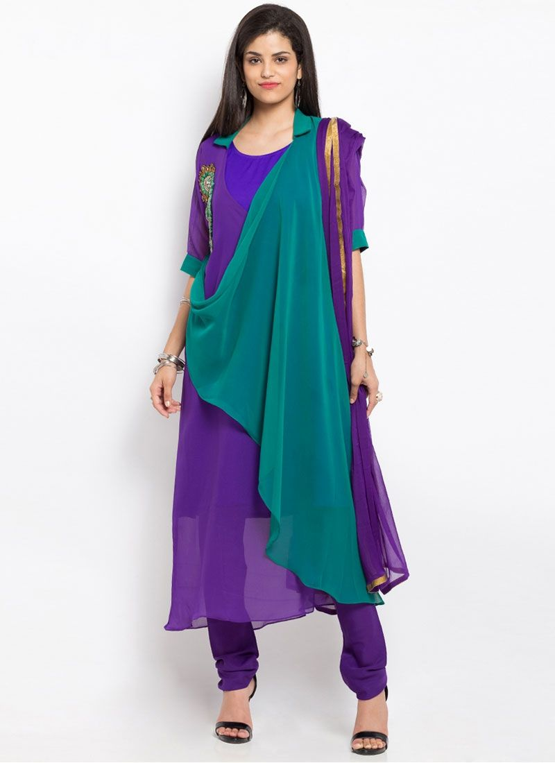 Flamboyant Embroidered Work Faux Georgette Purple Readymade Suit ...
