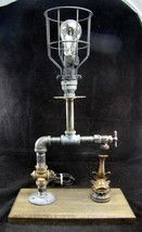 Re-purposed Industrial Steampunk Table Lamp Featuring Spigot w/ Fish - $148.49