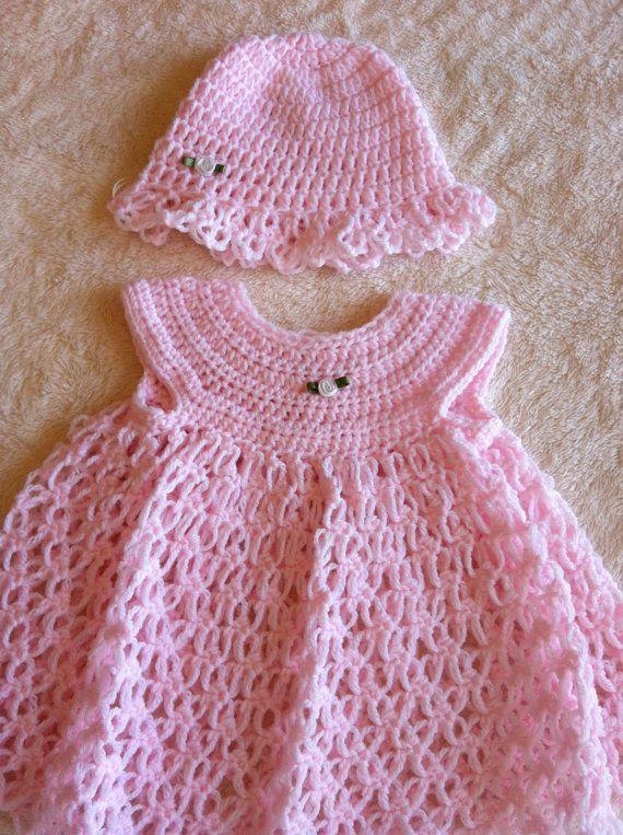 Crochet Baby Dress & Hat Set | baby dress | Pinterest | Tejido, Bebe ...