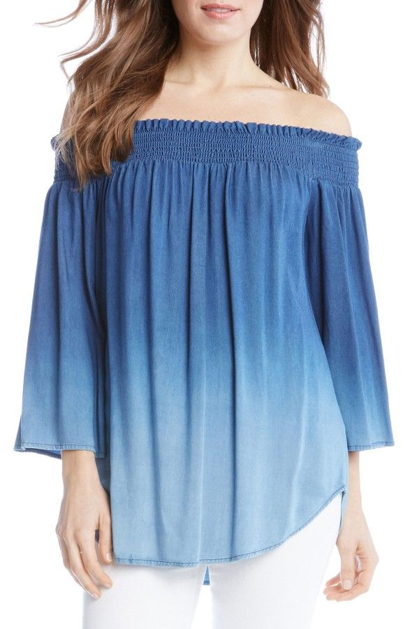 abccbe561ca Karen Kane Off the Shoulder Ombré Top- A lightweight chambray top in a  striking ombré-faded wash features a shoulder-baring smocked neckline and  feminine ...
