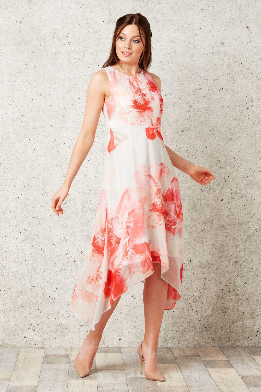Floral Chiffon Hanky Hem Dress In Pink Roman Originals