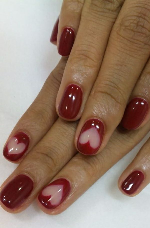 nagel designs bilder nail art rot herz muster - French Nagel Muster