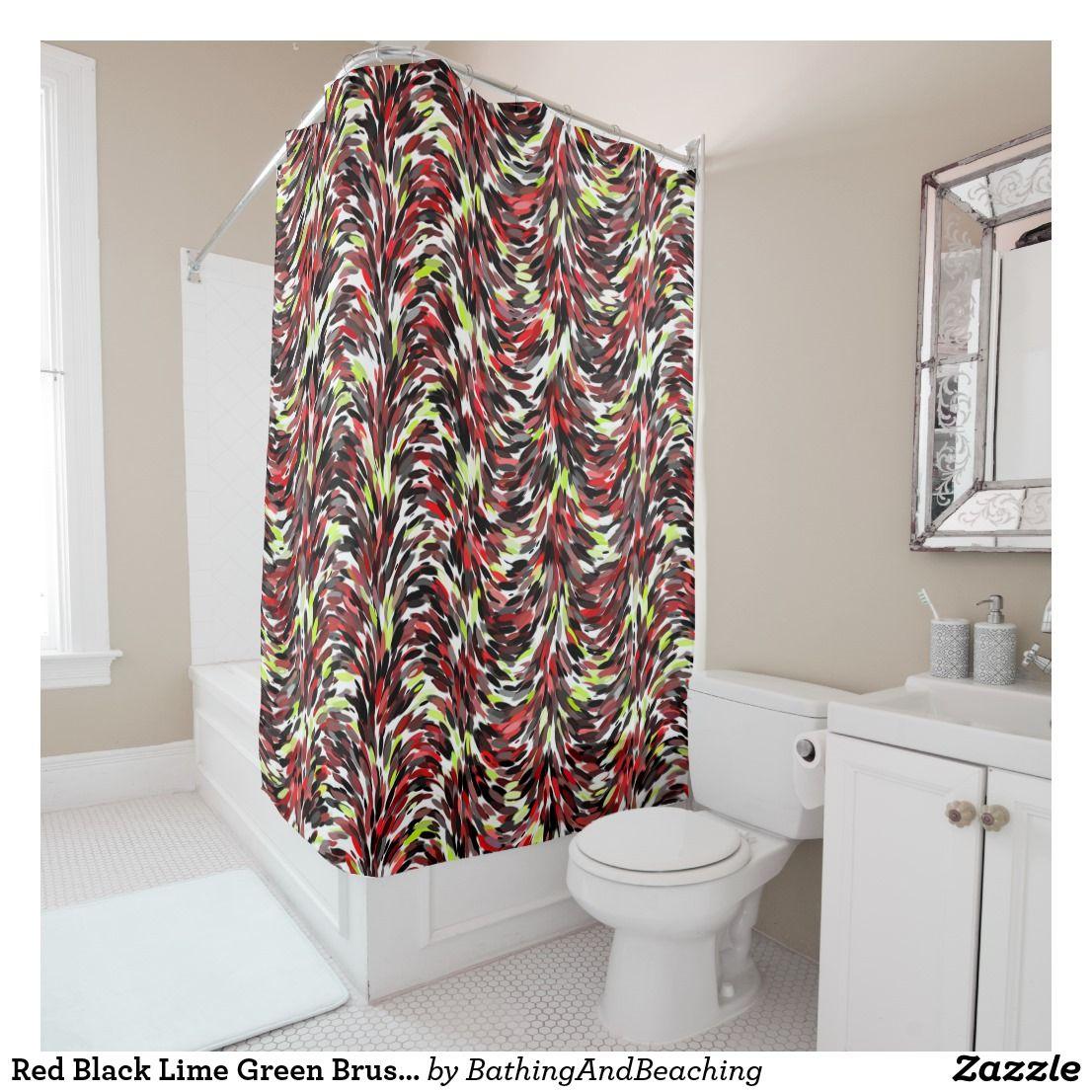 Red Black Lime Green Brush Strokes Art Pattern Shower Curtain Zazzle Com Pattern Art Fabric Shower Curtains Pattern