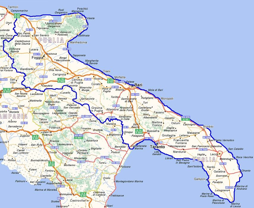 Cartina Puglia Dettagliata Pdf.Cartina Puglia Puglia Viaggio App
