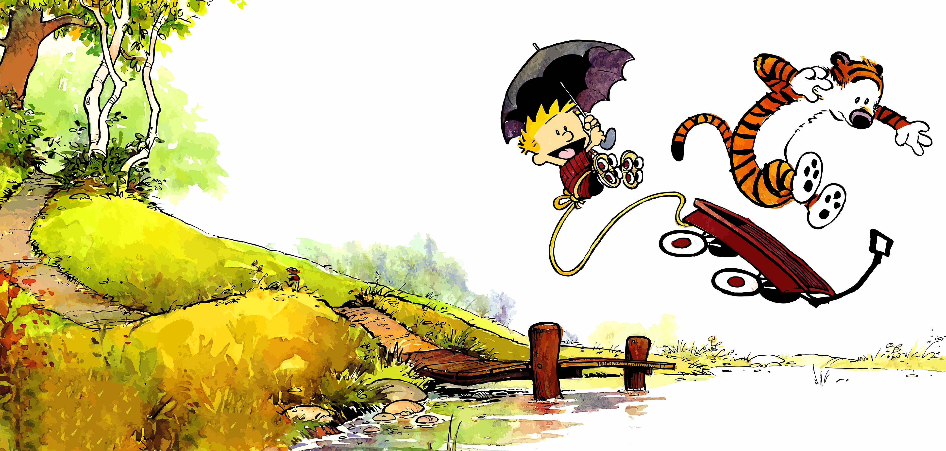 Calvin and Hobbes (book, front-back covers combined) 3840px × 1830px ...