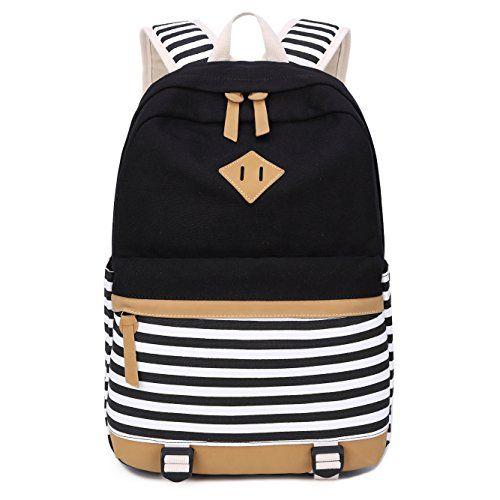 0a9d36755afbd Schulrucksack Mädchen Canvas Rucksack Damen Schul Schulranzen Schultasche 3  in 1 (Schwarz Streifen)