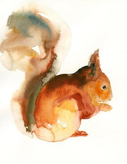 Squirrel By Dimdi Original Watercolor Painting 8x10inch Vertical