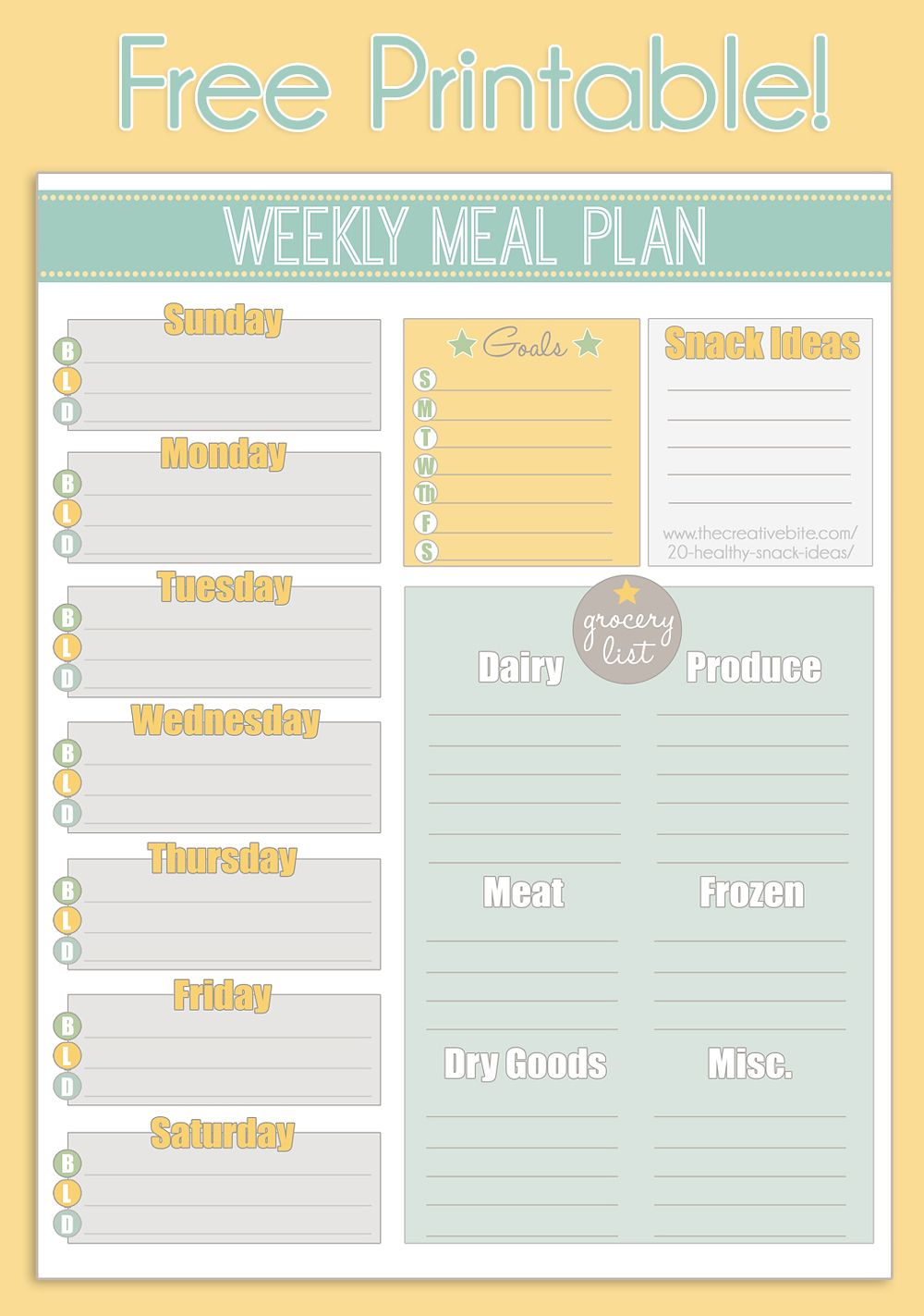 Use this free printable weekly meal planner to organize