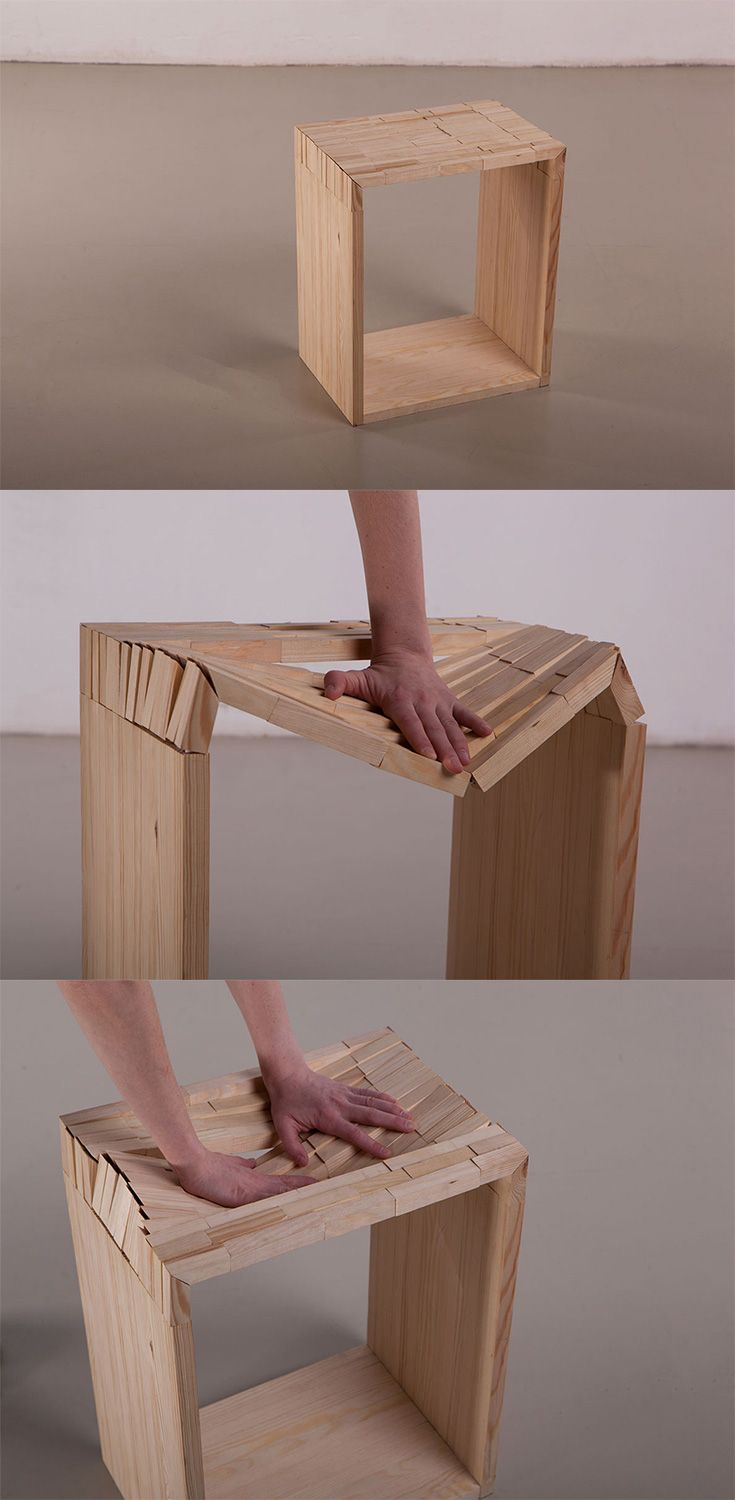This Simplistic Cube Stool Looks Rigid And Inflexible Take A Seat However And You Ll Find Its Cleverly Constructed To Adapt Comfortably To Y 스툴 가구 아이디어 가구