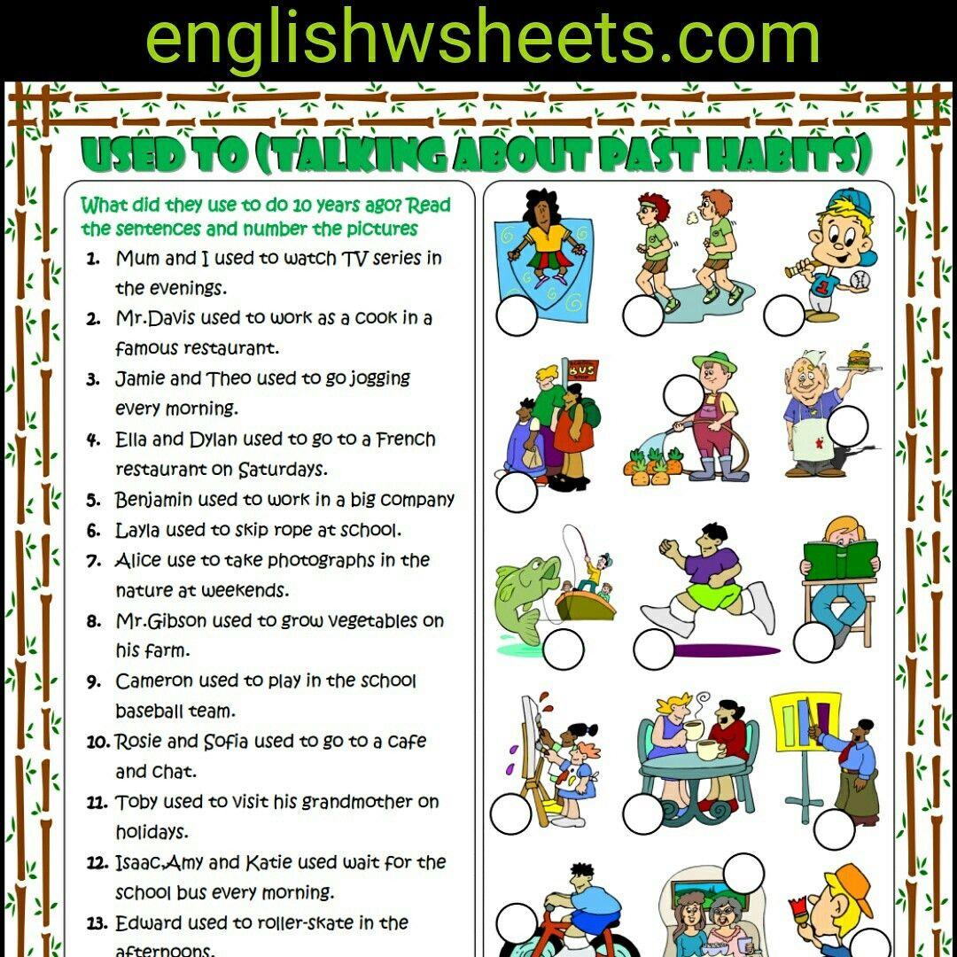 Worksheets Esol Worksheets used to esl printable grammar exercise worksheet for kids usedto past habits matching worksheet