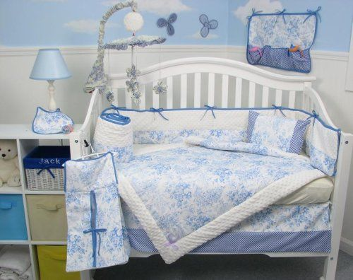 Baby Bedding French Blue Toile Crib Nursery Set 10pcsbaby Sets