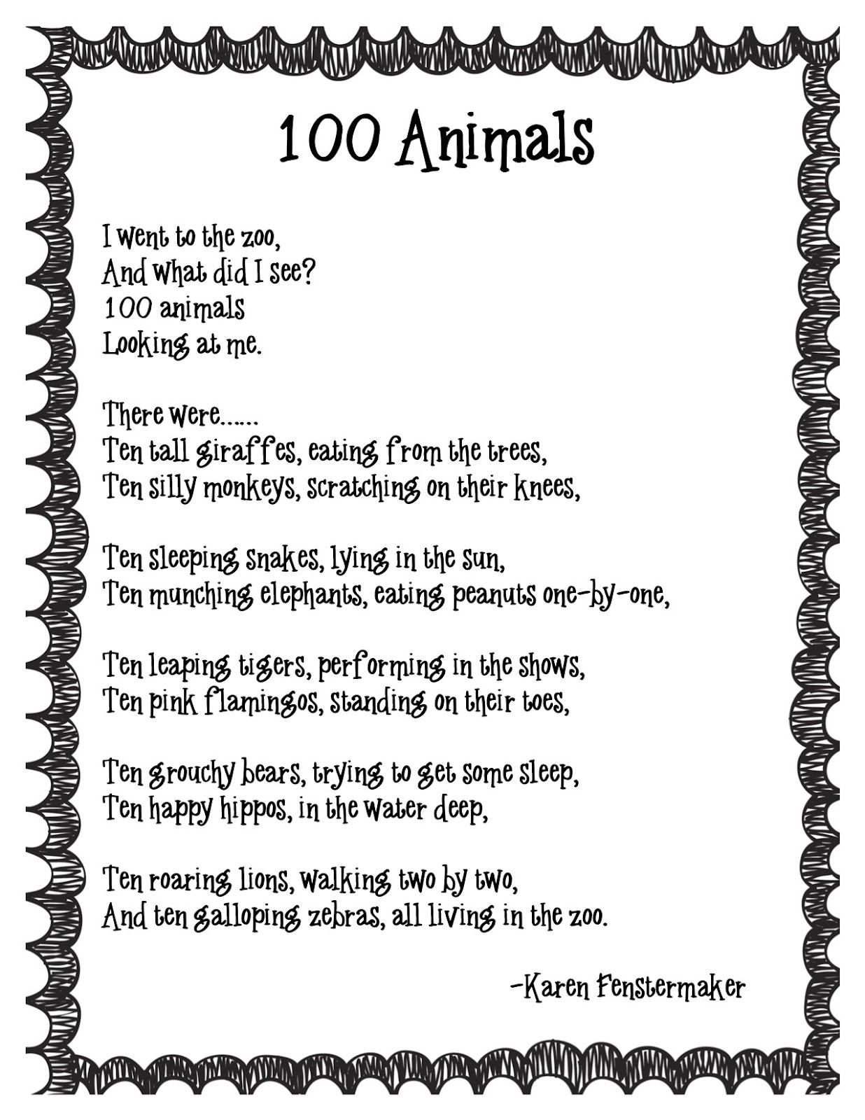 Uncategorized Short Animal Poems 100th day activities thank you i have been looking for this because lost math poemskindergarten poemspreschool poemsanimal