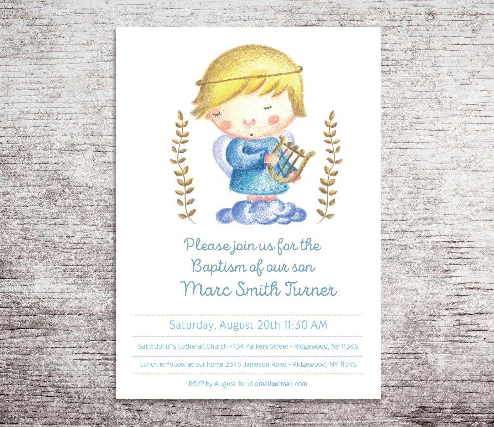 Baby dedication invitation, Boy Baptism Invitation, Printable ...