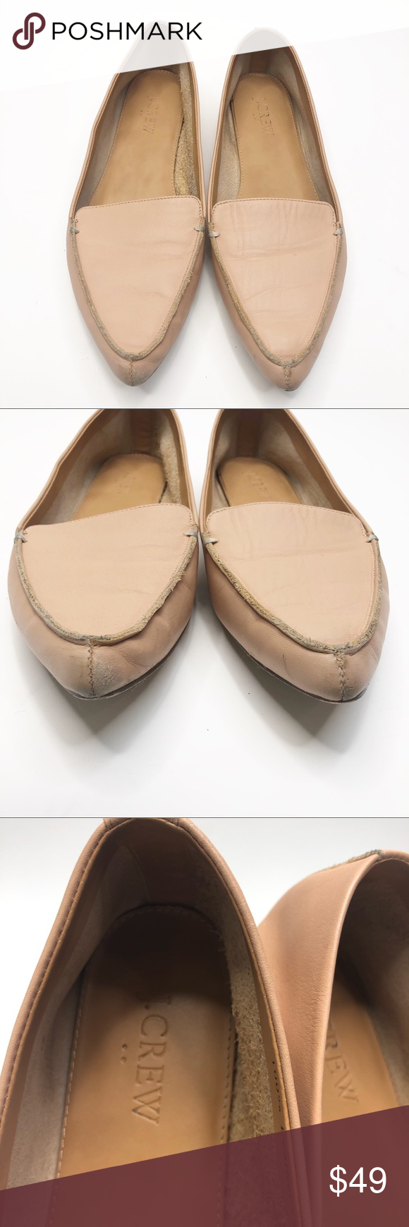 016789fbbaa J. Crew  Edie  Leather Loafers J. Crew Factory  Edie  Warm Beige Tan Leather  Loafers Pointed Nose Flats. Size 8.5. See photos for wear - a few nicks at  ...