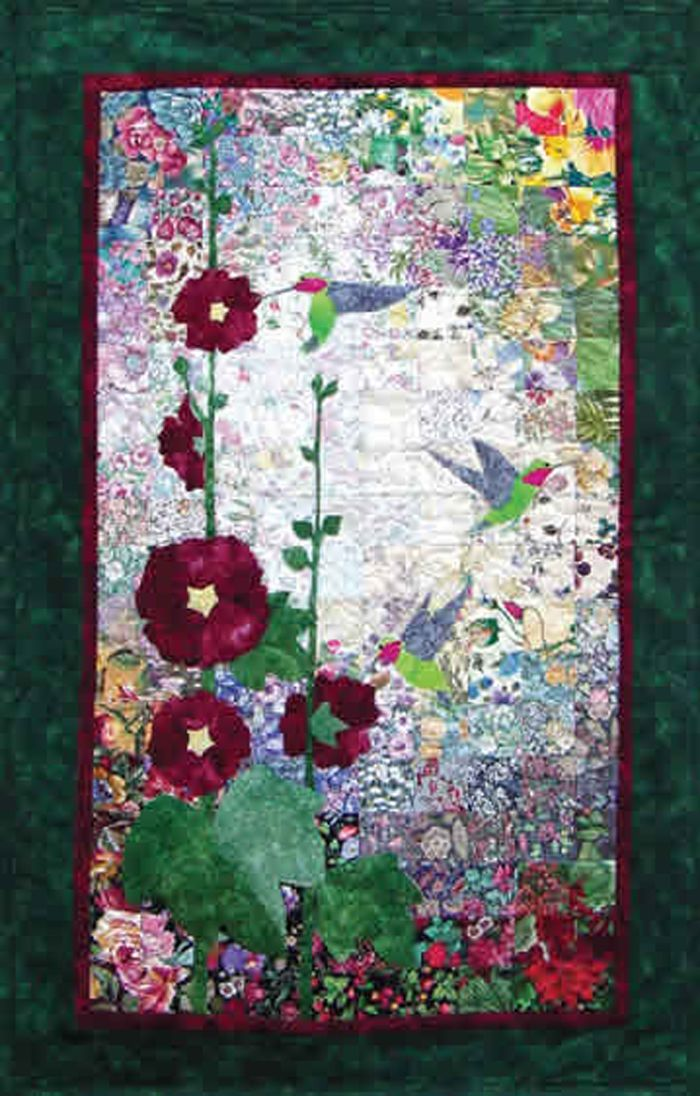 Hummingbirds Hollyhocks Quilt Watercolor Quilt Flower Quilts