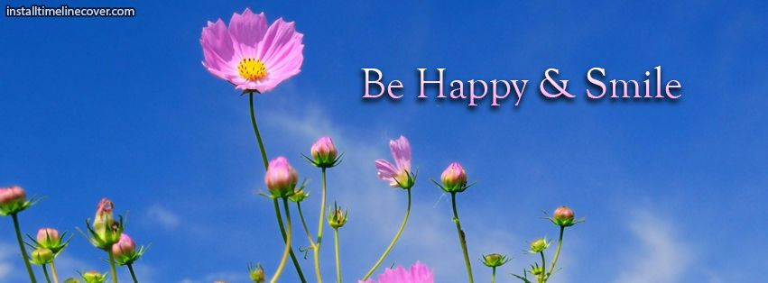 Be happy smile pink flowers Facebook Cover