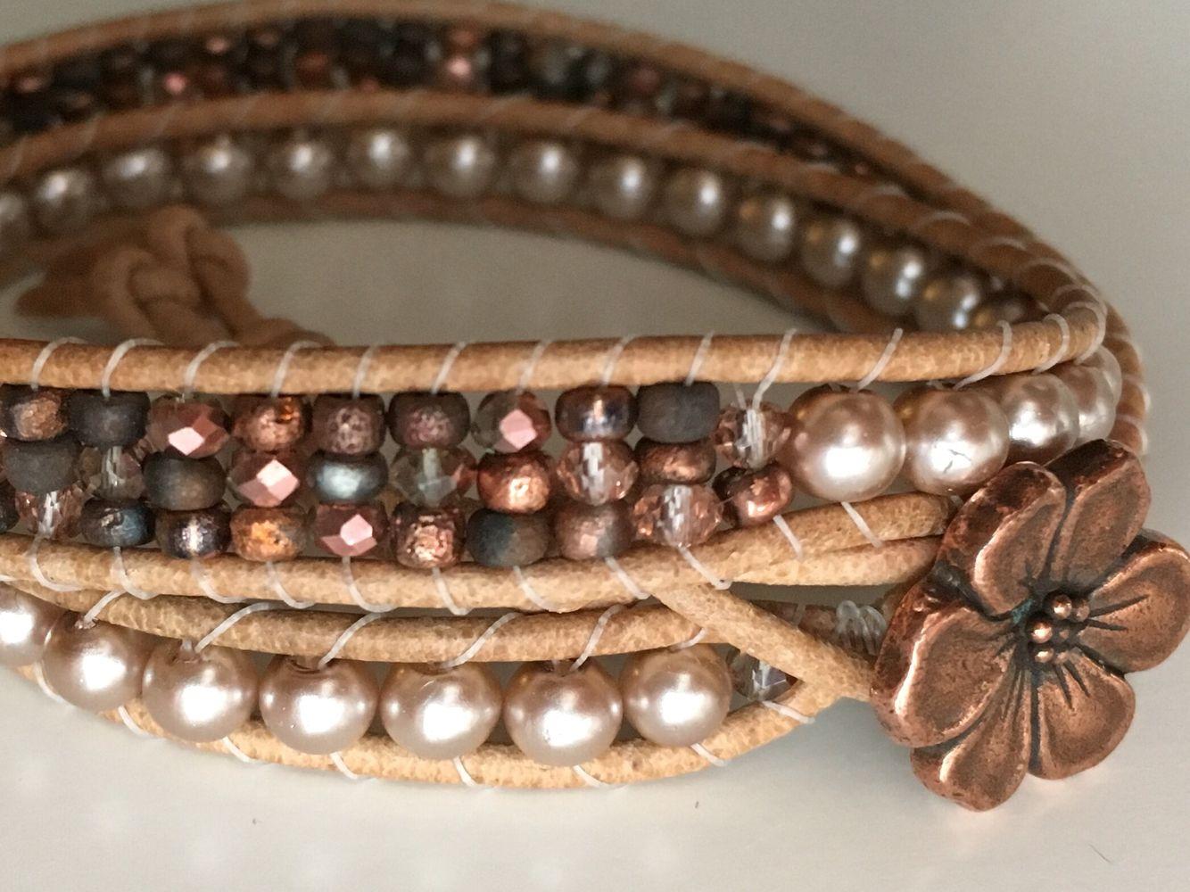 Rose gold double wrap bracelet. Leather wrap bracelet by Pixie Rose Studio on Etsy
