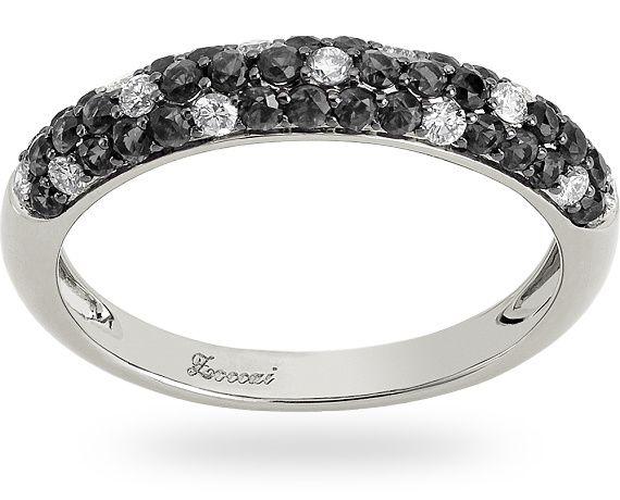 Anello in oro bianco/nero 18 kt. con 0.51 ct. di diamante nero e 0.20 ct. di diamante.