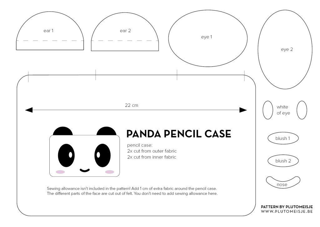 Panda Pencil Case Pattern   Manualidad   Pinterest   Cartucheras
