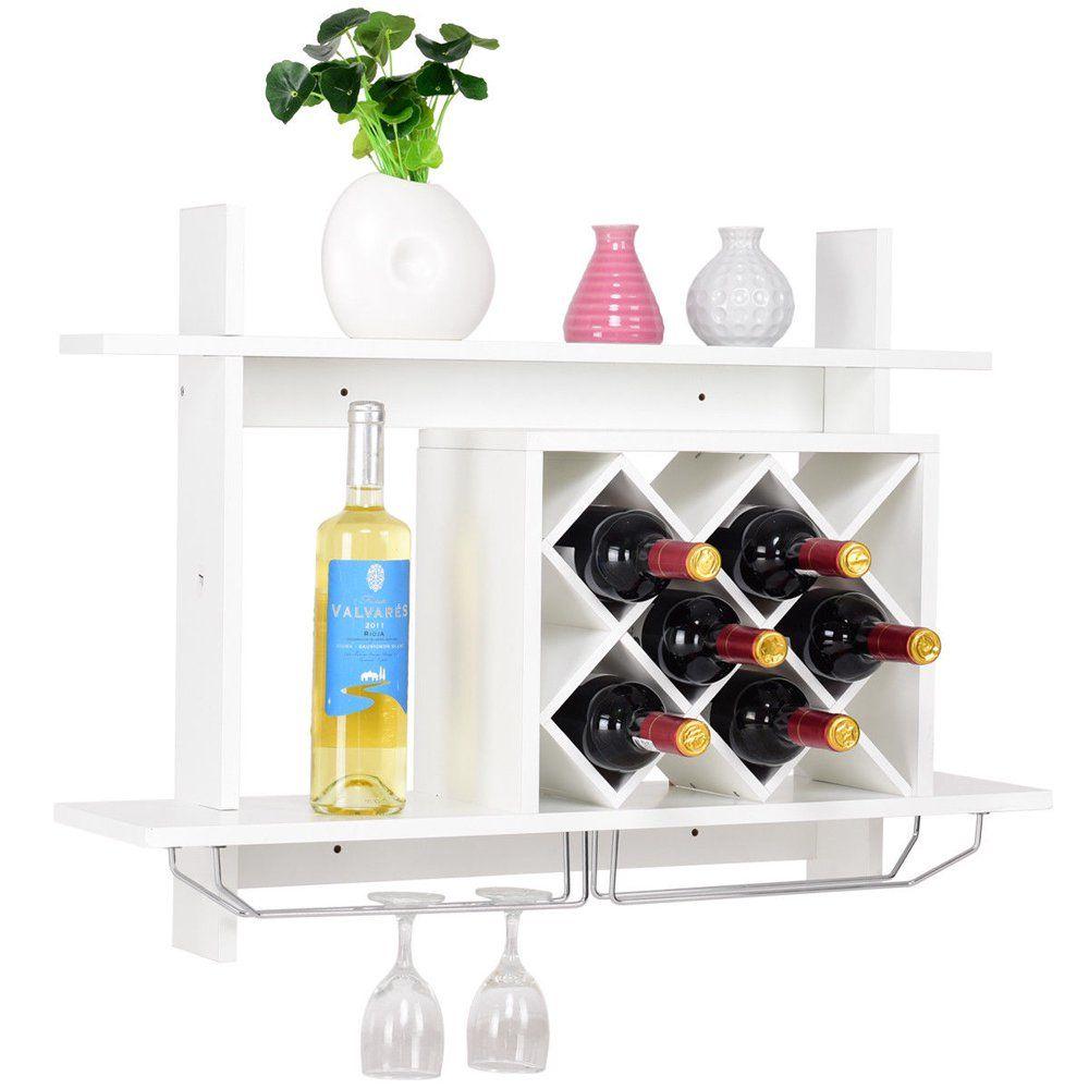 gymax wall mount wine rack w glass