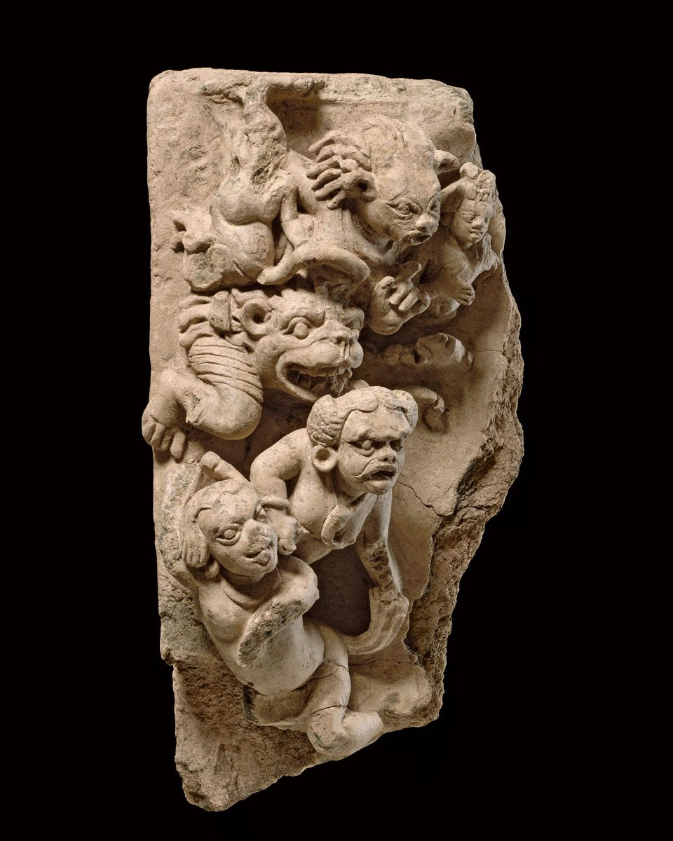 """The Horde of Mara  Northern India 5th to 8th century Terracotta Height : 42cm (16.54""""), Width : 20.5cm (8.07"""")"""