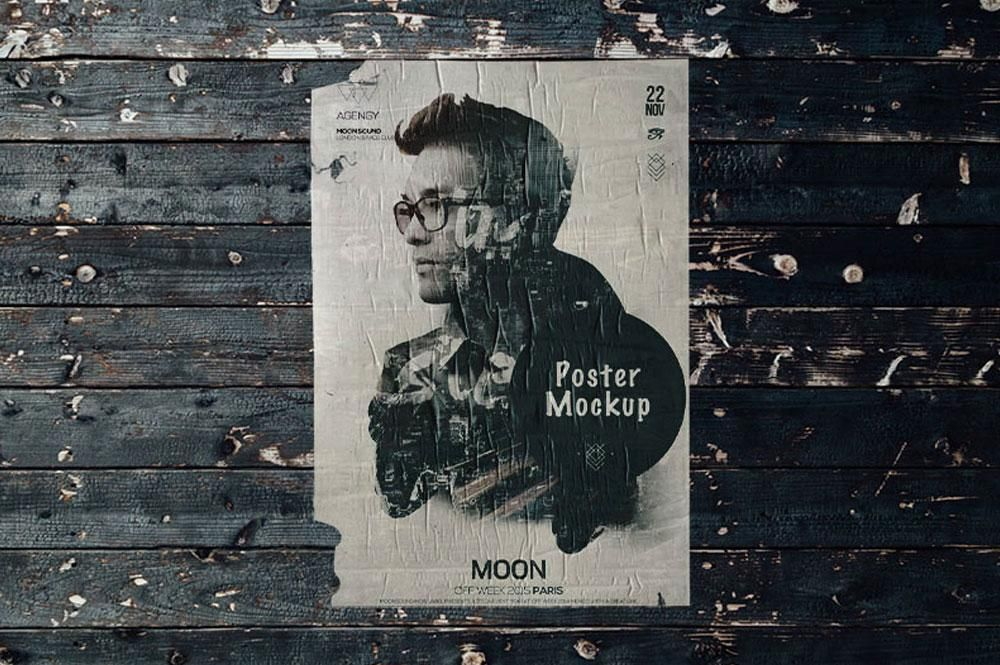 Vintage Flyer Poster Mockup With Rough Wooden Vibes Poster Mockup Poster Mockup Psd Mockup Photoshop