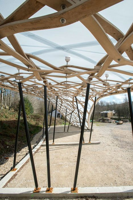 Wood shelter with lattice roof by architectural for A frame shelter plans