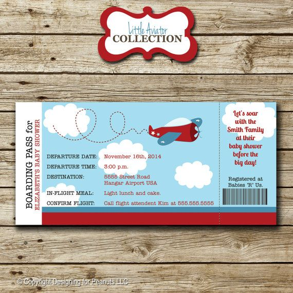 Airplane Ticket Invitation baby shower by designingforpeanuts - airplane ticket invitations