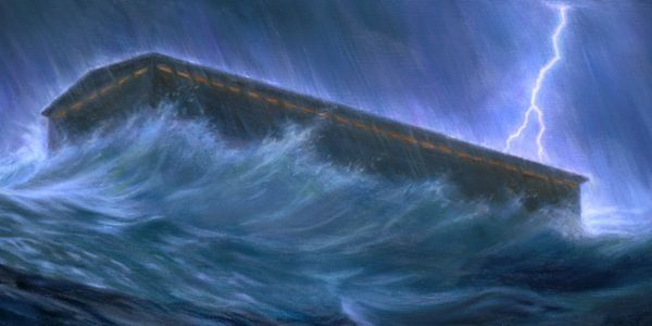 The ark floats as the floodwaters rise and the rain falls