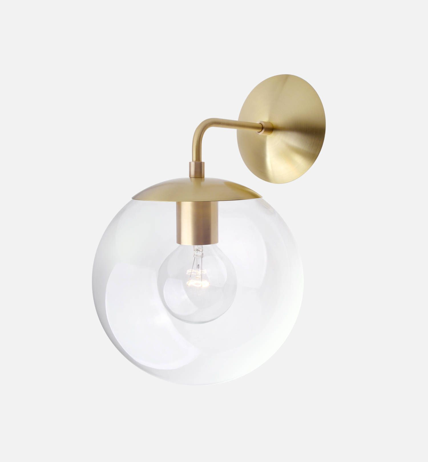 Mid century modern clear glass globe wall sconce light 8 solid mid century modern clear glass globe wall sconce light 8 solid brass minimal arubaitofo Images