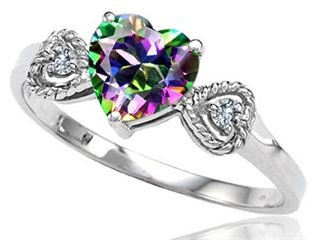 tommaso design rainbow mystic topaz heart shape engagement promise ring 132 ct tw style no 308559 - Rainbow Wedding Rings