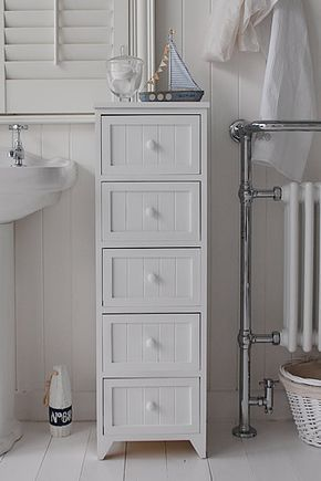 A 5 Drawer Tall Narrow Bathroom Cabinet From The Maine Range Of Simple But Classic Freestanding Bathroom Cabinet Narrow Bathroom Cabinet Bathroom Floor Storage