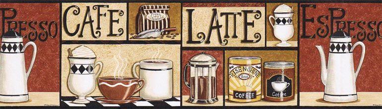D Strain Cafe Latte Espresso Wallpaper Border Klm43003b Coffee Decor Kitchen Coffee Theme Wallpaper Border Kitchen