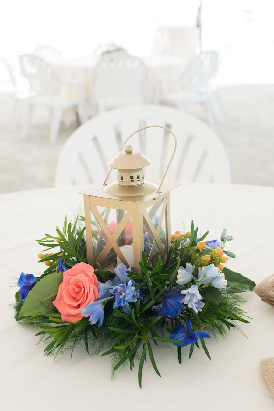 Beach Wedding Reception Table Decor with Gold Lanterns with Lush ...