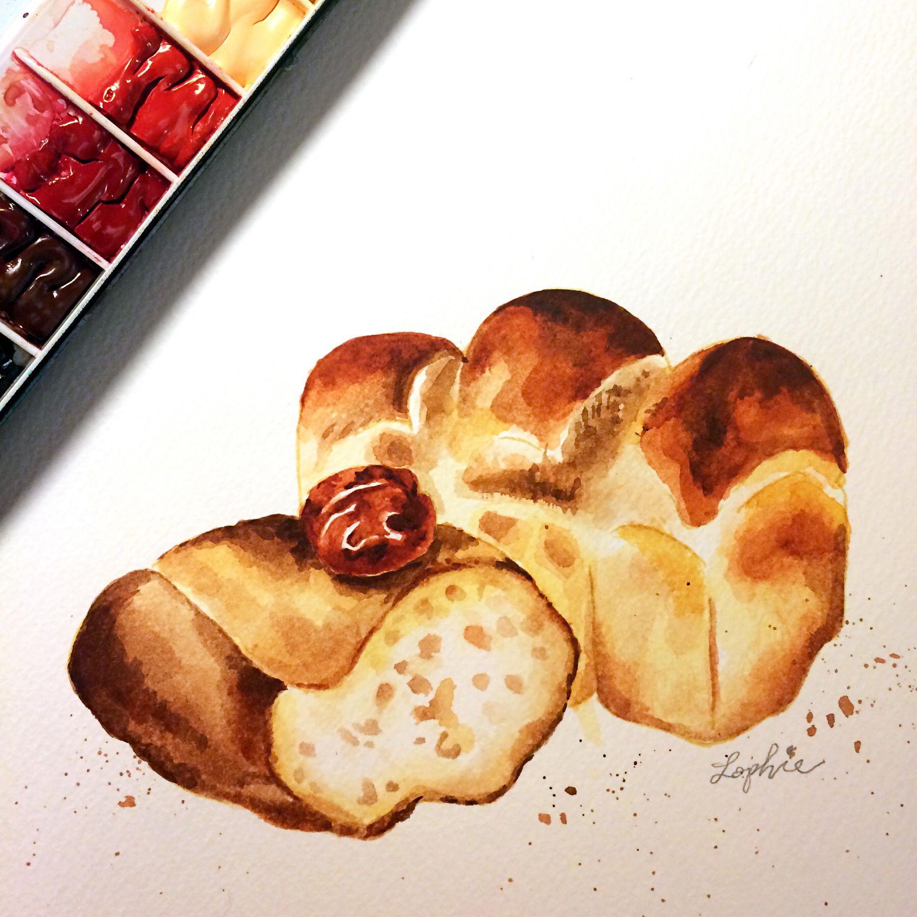 "ǃ¤ç""¦éºµåŒ… Watercolor Illustration Painting Bread Food Illustration Bread"