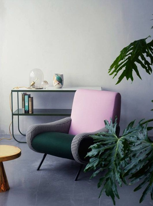 Retro Stil Sessel Modern Sessel in Rose und Grün Wohnzimmer - wohnzimmer ideen grun