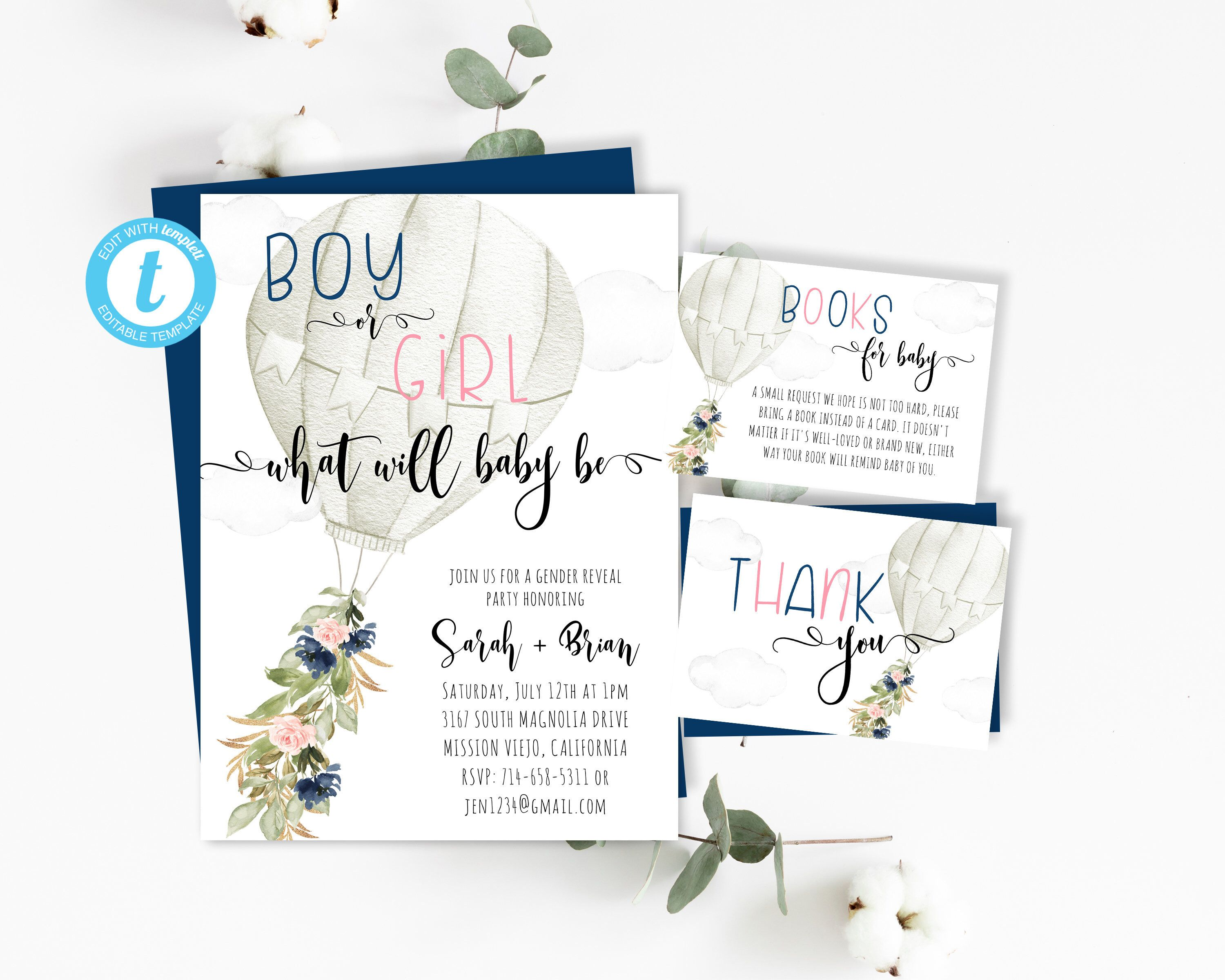 Gender Reveal Invite, Pink Navy Floral Hot Air Balloon