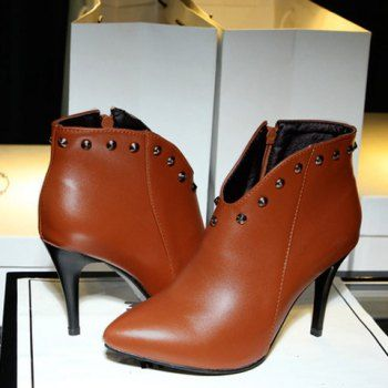 Trendy Pointed Toe and Rivet Design Women's Ankle Boots $25.71