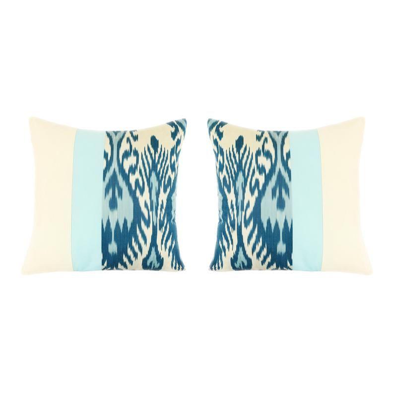 Throw Pillows Covers 18x18 | Set of 2 Silk Ikat Teal Throw Pillow Covers | Tribal Throw Pillow Cover