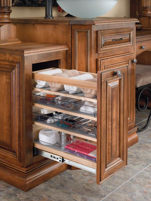 Cabinet Pullout Organizer With Wood Adjustable Shelves And Bins For  Bathroom/Vanity #organizing