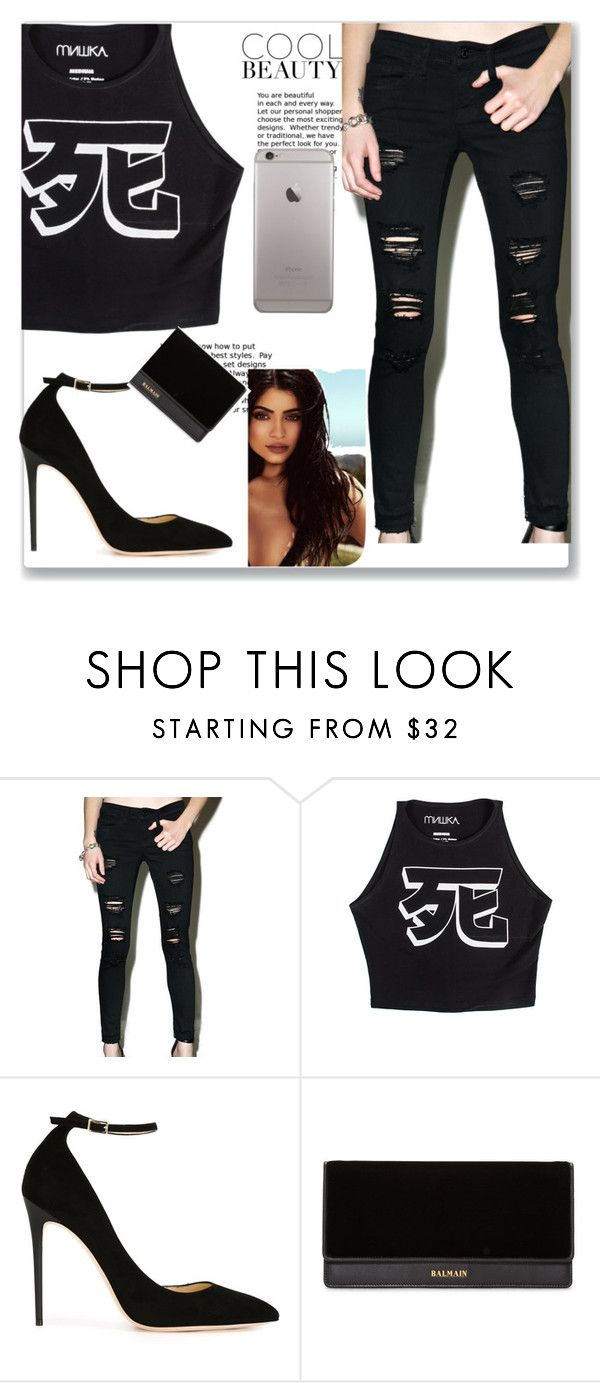 """""""Untitled #128"""" by loveme-dxx ❤ liked on Polyvore featuring Klique B, Mishka, Jimmy Choo, Topshop and Balmain"""