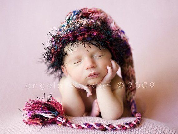 Knit Newborn Baby Girl Hat BaBY PHoTO PRoP Long Stocking Cap Pink Black  SaRi SiLk Tassel Beanie FuZz 071cd86a9c4