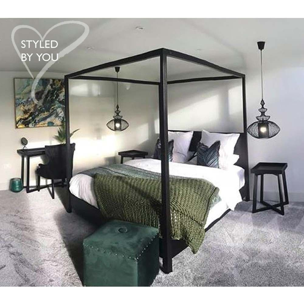 The Hedonist Black 4 Poster Bed Black Canopy Beds Green And
