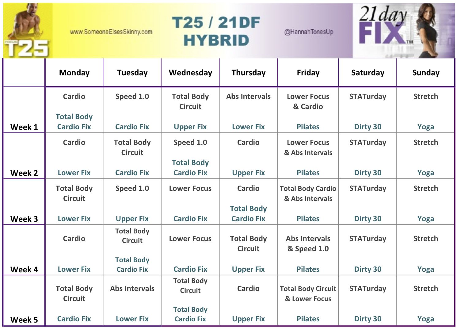 Focus T25 and 21 Day Fix Hybrid   21 day fix   21 day fix workouts