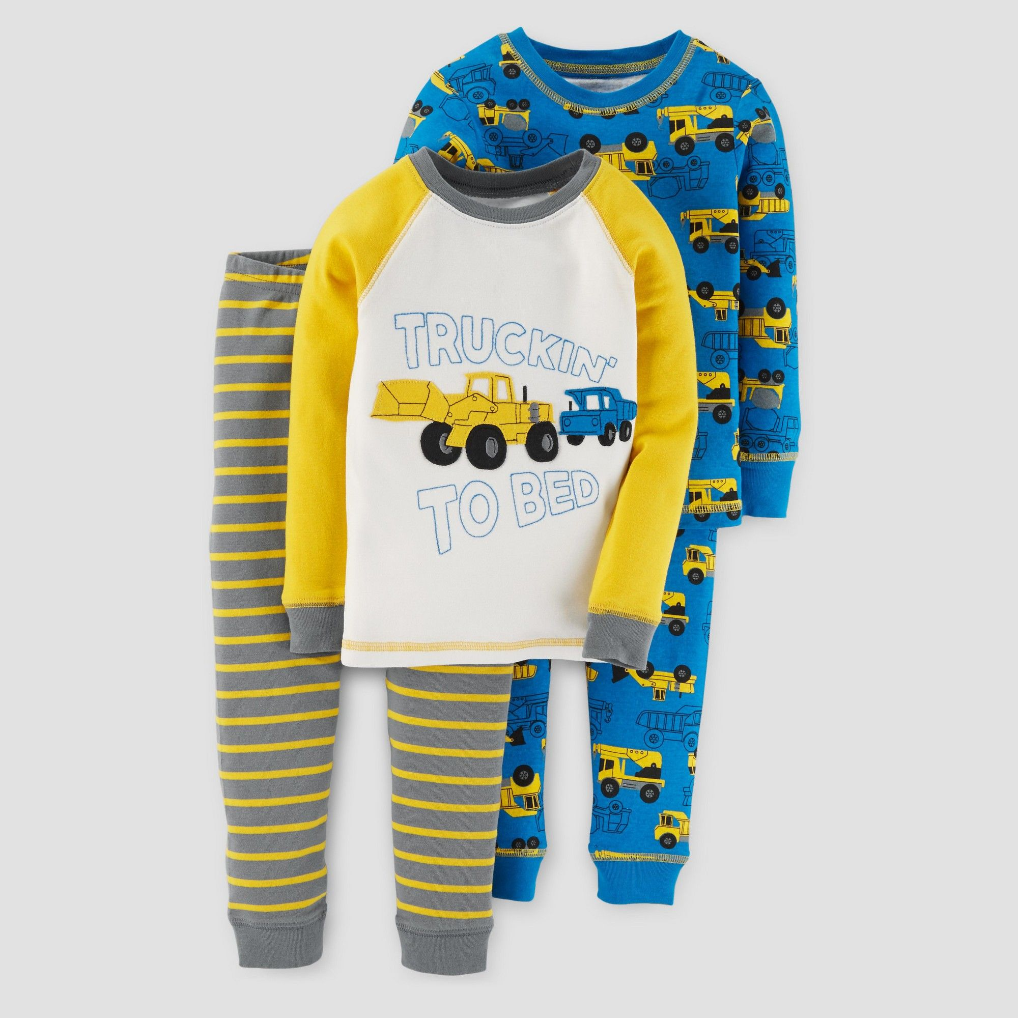85612a6bd8da3 Baby Boys  4pc Long Sleeve Truckin To Bed Pajama Set - Just One You Made by  Carter s Yellow 9M